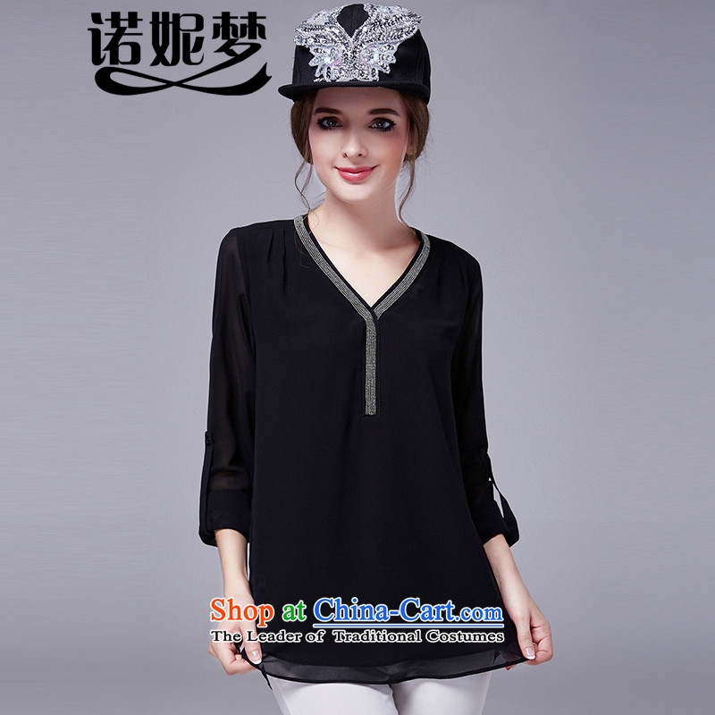 The Ni dream new_ Autumn 2015 Europe 200 catties to increase women's temperament nails Code V-neck in the Pearl River Delta chiffon shirt long-sleeved T-shirt, forming the Netherlands s1016 black XXL