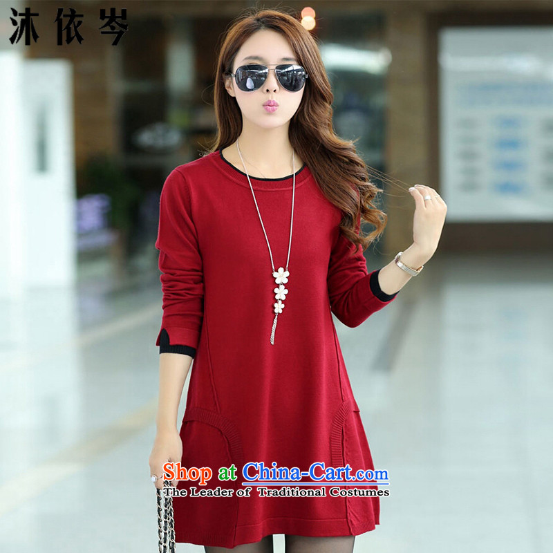 In accordance with the CEN 2015 bathing in the autumn and winter new Korean female thick MM to increase the number of sets of knitted shirt loose video head thin sweater dresses 8851 wine red燤 suitable for a catty, pp. 95-108