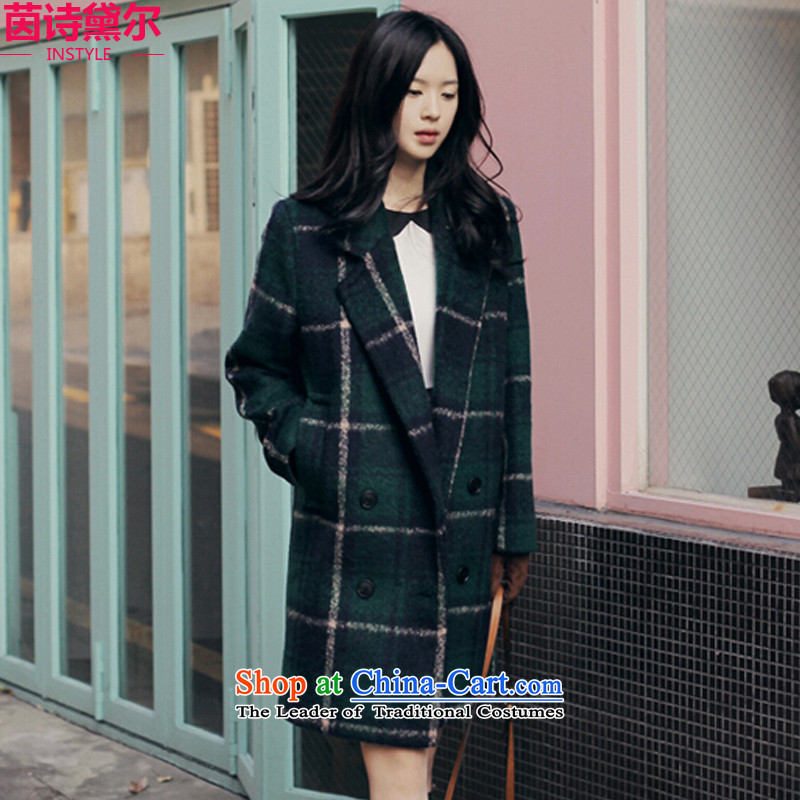 Athena Chu poetry, hair-dressing coats??? The jacket autumn and winter, female new Sau San Korean retro England compartment long coats Thick Green Grid larger 473 M