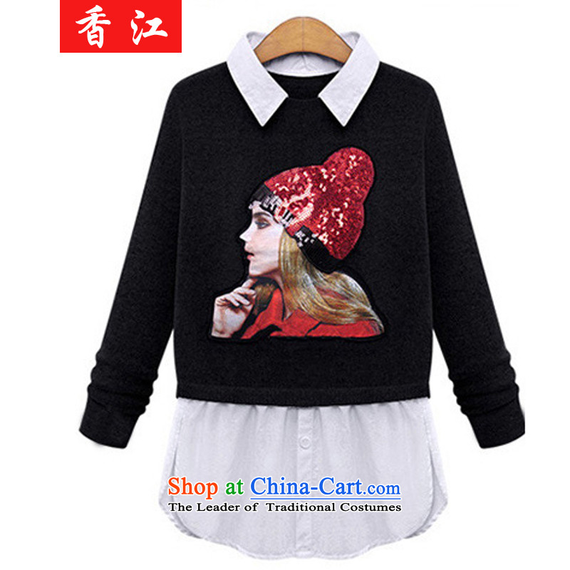 Xiang Jiang� 2015 new larger female autumn and winter video thin loose thick sister 200 catties to intensify the woman and leave two garment牋5XL 318 Black