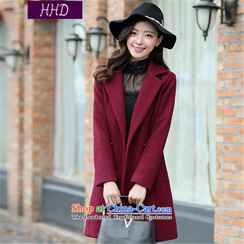 Hhds 2015 autumn and winter new women in Korean long hair? a wool coat loose coat female wine red XL