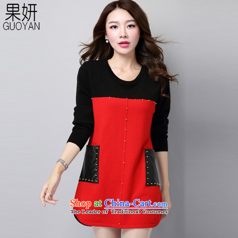 Charlene Choi 2015 Winter Fruit new larger women in forming the long sleeved clothes loose video thin sweater L8024 female redXL