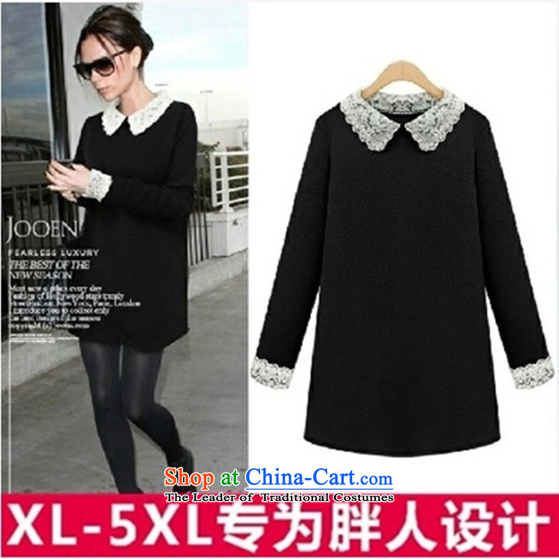 Replace the Spring and Autumn period the new 2015 European and American Women's large thick sister lace dolls for thick, Hin thin, long-sleeved MM thick coated suits skirts 200 cattiesXXXXXL black