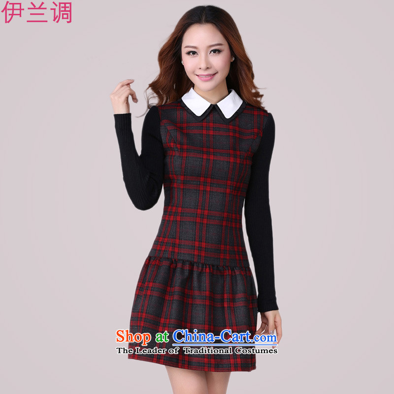 Gilland up Code women's dresses long-sleeved 2015 new_ won early autumn edition red and gray grid centers Sau San mm thin 2166 plus lint-free video XXXXL Version