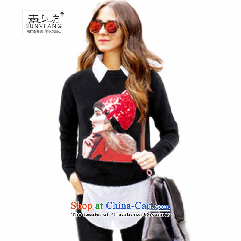 Motome Workshop聽2015 Autumn new 200 catties large European and American lady knitted sweaters larger leave two forming the Netherlands 318 Black聽4XL聽recommendations 160-175 catty