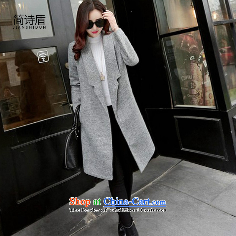 In short poem shield�15 Fall_Winter Collections new coats, wool? Long Korean jacket and gross? female large gray gray燲L