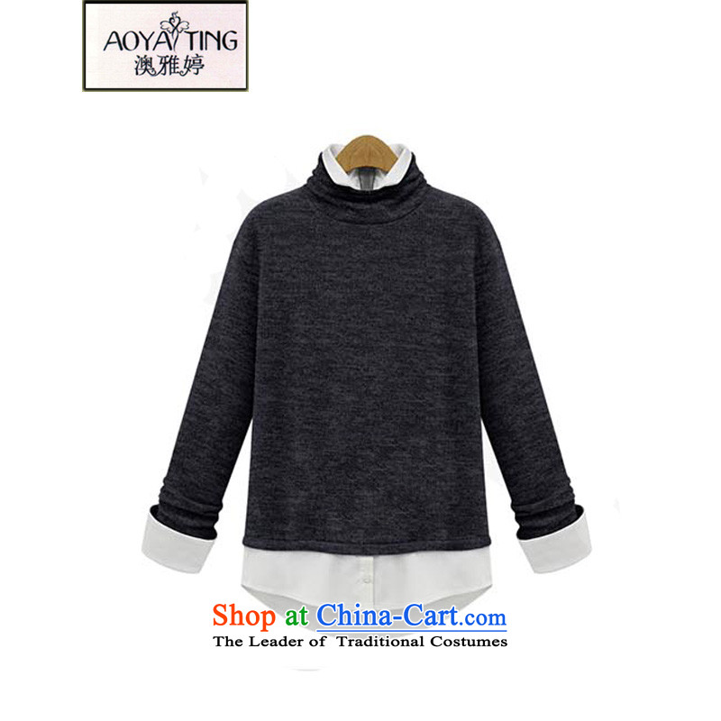 O Ya-ting to increase women's code 2015 autumn and winter new leave two forming the Netherlands thick mm thin coat graphics high collar Knitted Shirt female D836 carbon�L爎ecommends that you 160-180 catty