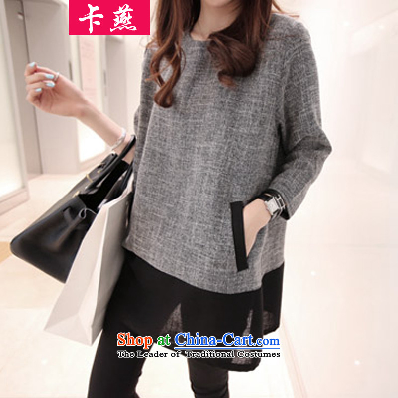 2015 Korean card Yin new larger women of autumn and winter Fat MM to intensify the loose, long thin graphics shirts dresses T-shirt5186Light Gray5XL