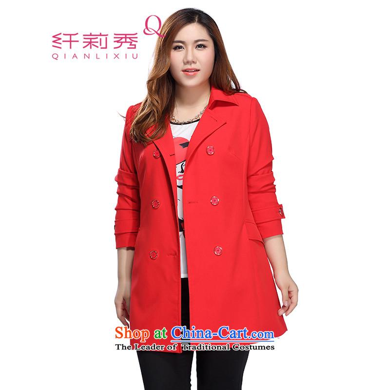 The former Yugoslavia Li Sau 2015 autumn large new mount female Korean double-stylish lapel large long-sleeved jacket coat 0225 Red聽4XL