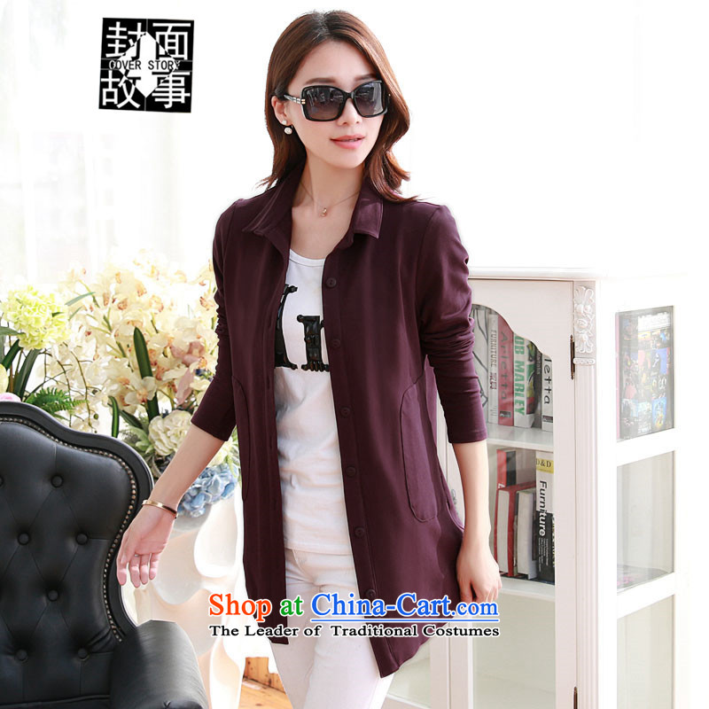Cover Story in spring and autumn 2015 new middle-aged moms with minimalist lapel long-sleeved shirt, long loose shirt larger blouses dark red燲XXL