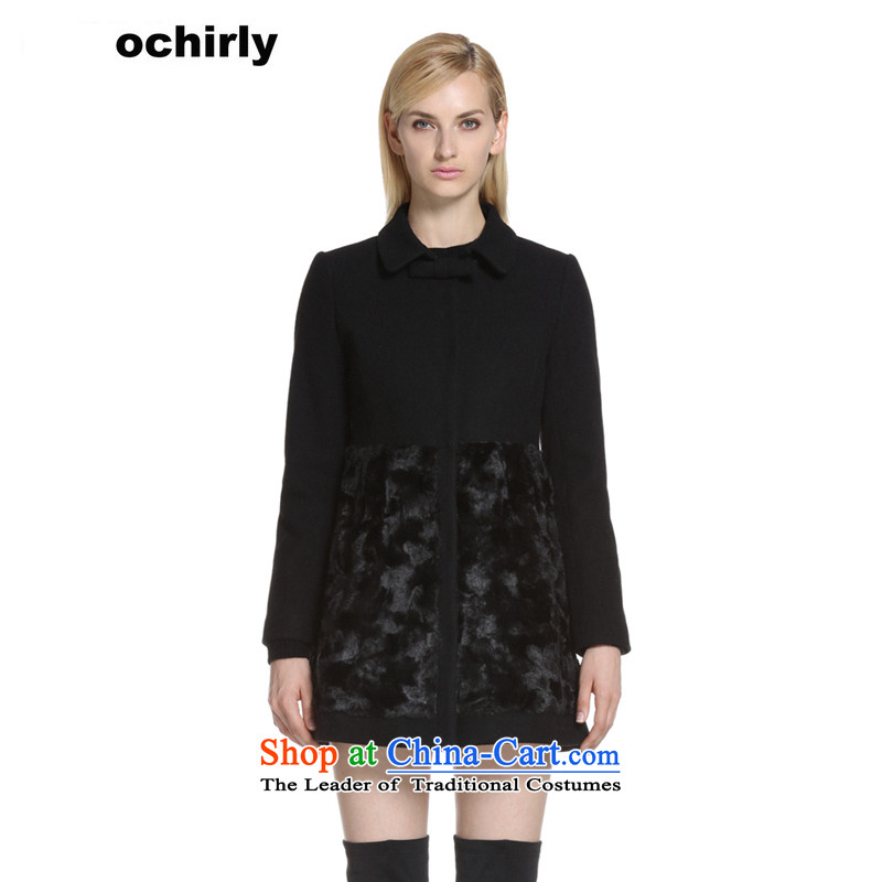The new Europe, ochirly female high-lumbar stitching petticoats boards in reverse collar plush coat 1143342930? black M(165/88a) 090