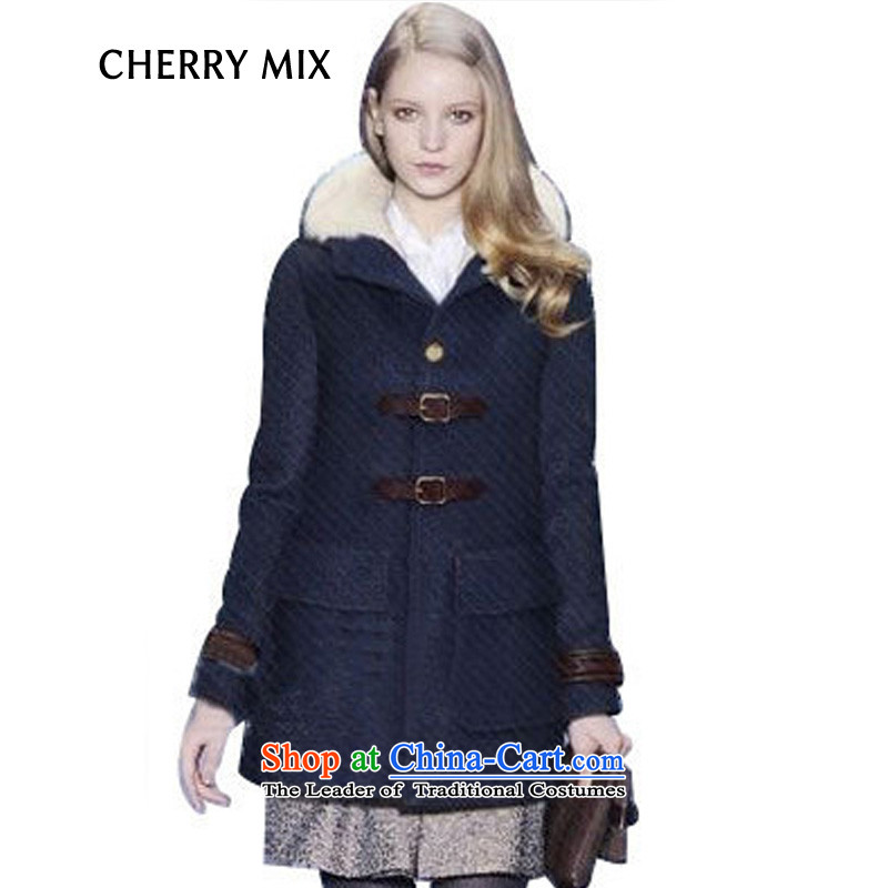 Europe is a winter cherrymix a wool coat female thick hair? coats jacket coat of gross? What wool women dark blue L