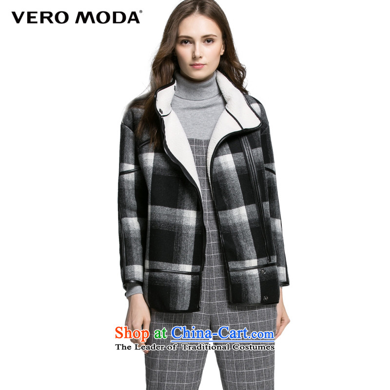 Vero moda crisp plaid fabric winterization high collar design with wool coat |315327031 gross? 010 Black�0_80A_S