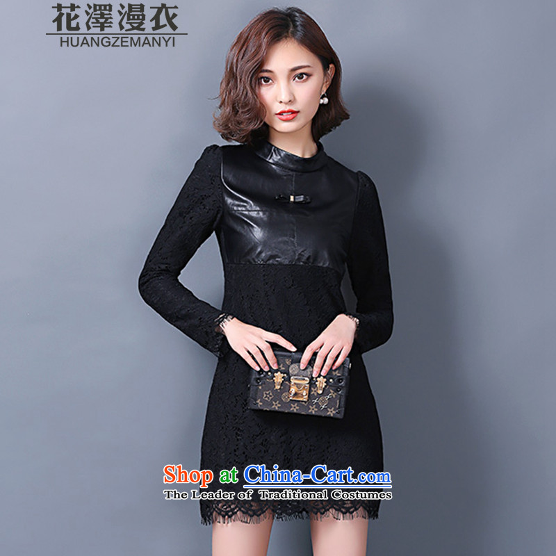 Flower-taek diffuse Yi Code women 2015 Autumn and Winter Female plus extra thick leather garments women lint-free video thin lace forming the relaxd long-sleeved dresses autumn and winter H8685 black  M