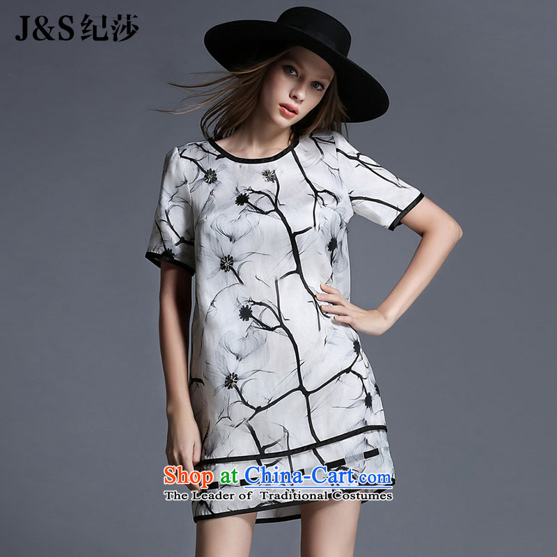 Elizabeth2015 Summer discipline and to intensify the thick large mm female chiffon dresses thick sister ink paintings stamp patternZR1981 skirtsuits2XL