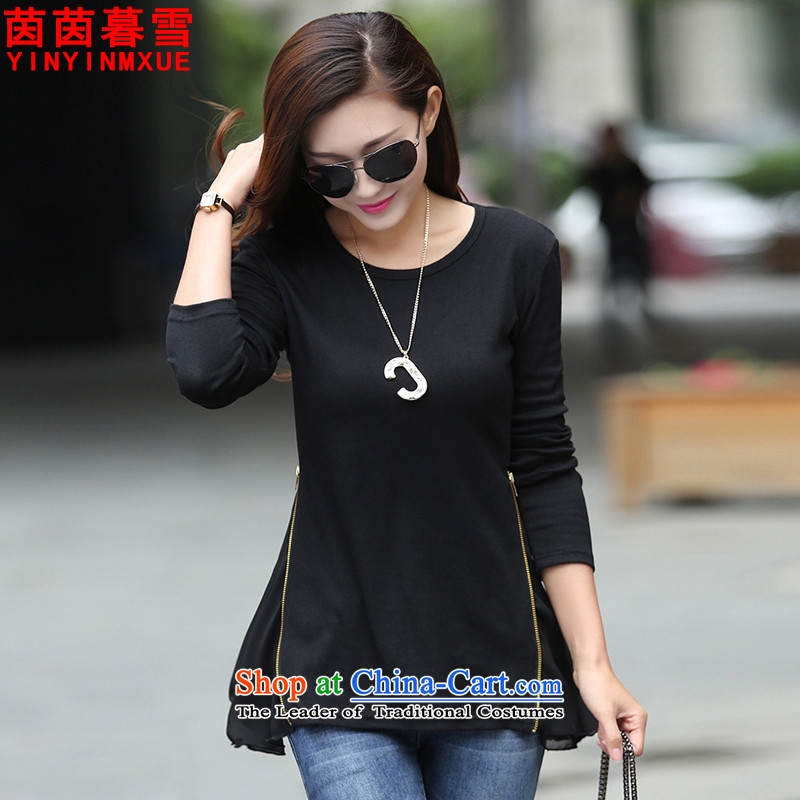 The Yin Yin snow�15 new larger female Korean forming the Netherlands shirt Sau San T-shirt燚X8087 female燽lack燲XXL