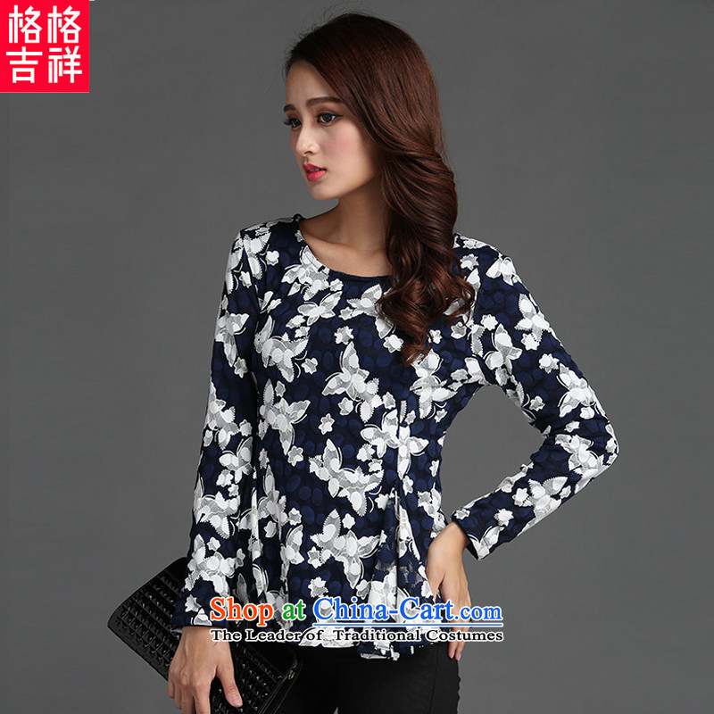 The interpolator auspicious2015 to increase the number of ladies Fall_Winter Collections new graphics thin lace Sau San stamp lint-free thick long-sleeved T-shirt, forming the Netherlands Y13523XL Royal Blue