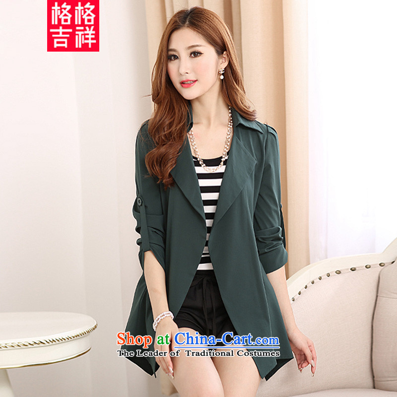 The interpolator auspicious�15 to increase the number of women in the autumn of new expertise in thin long graphics mm_ suits for leisure cardigan wind jacket Y1122�L green