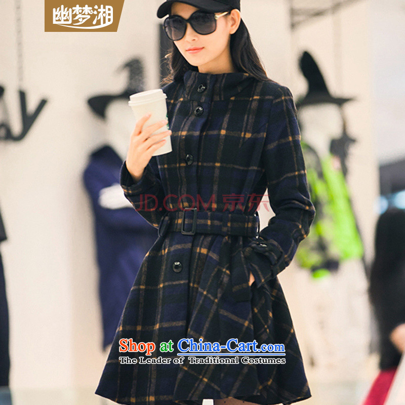 Meng Xiang ymx2015 autumn and winter coats Women's blouses coats girl? autumn and winter female gross a wool coat new grid loading thick wool plus received SDR 89.3 lint-free Blue燤