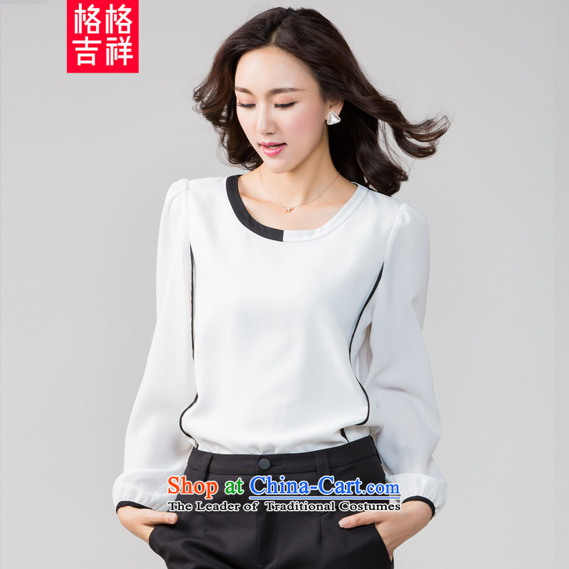 The interpolator auspicious 2015 to increase the number of women in the autumn of New mm thick video thin knocked color stitching long-sleeved T-shirt, forming the women chiffon shirt K5582 3XL White