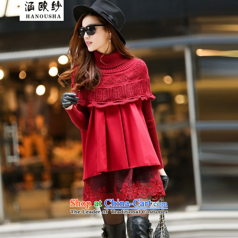 The OSCE yarn covered by casual jacket female spring and autumn 2015 replacing the new Korean large relaxd dress knitting windbreaker cloak large red燤
