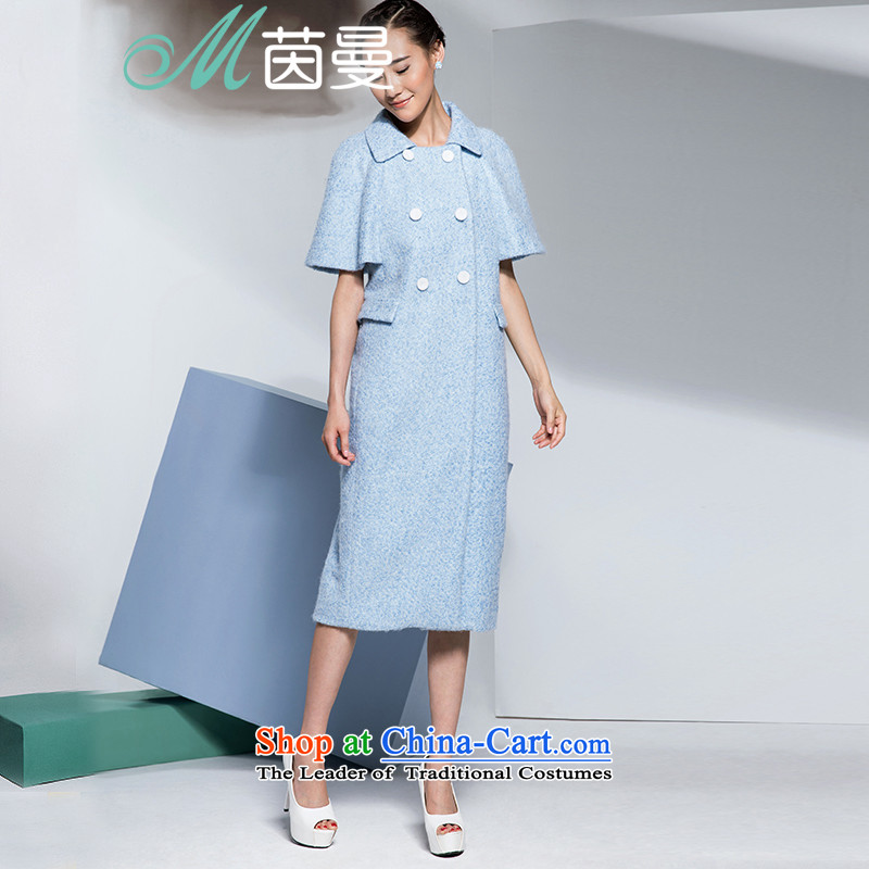 Athena Chu Cayman winter clothing stylish and simple pure color, double-overcoats female elections?- 8443210904 POWDER BLUE燣