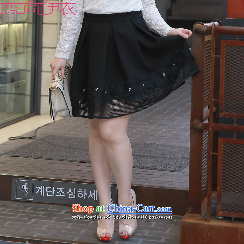 C.o.d. xl new segment skirt fourth quarter short skirt solid color pearl adorn sweet biological aerial waist skirt thick mm video thin short skirts wild female black skirt�L爓aist 3 ft 1
