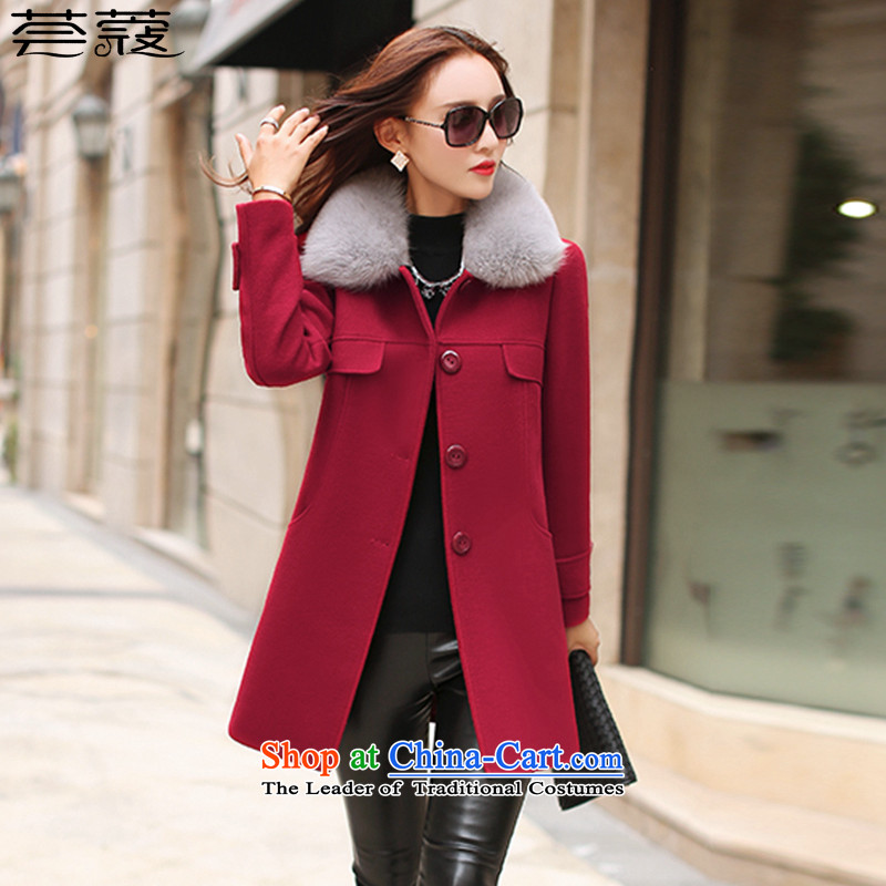 Aloe vera Coe gross? 2015 autumn and winter coats of new products with four-color M-xxl high emulation for long hair Fox, a wool coat jacket HK15008 wine red燤 code