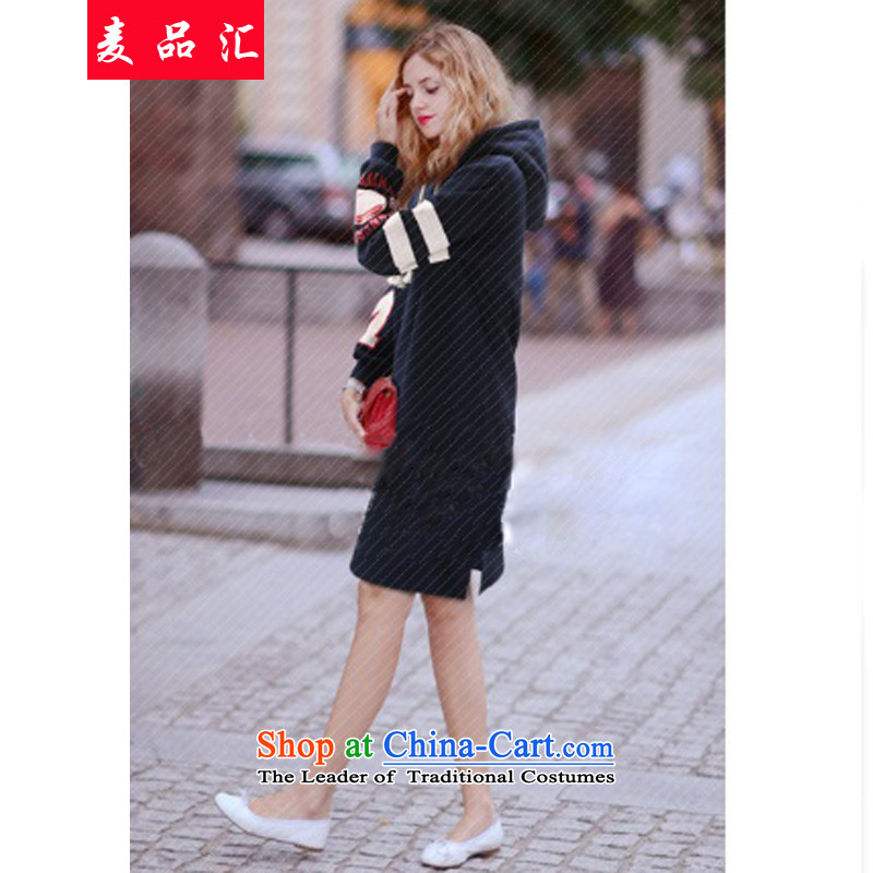 Mak, removals by sinks thick MM Fall/Winter Collections loose video thin xl 200 catties in women's long cap sweater plus lint-free T-shirt thickened the skirt324Navy5XL