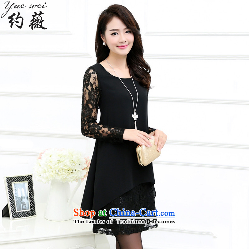 Ms Audrey EU approximately�15 autumn large code women loose video thin long-sleeved lace stitching forming the chiffon dresses燳W381牋5XL black