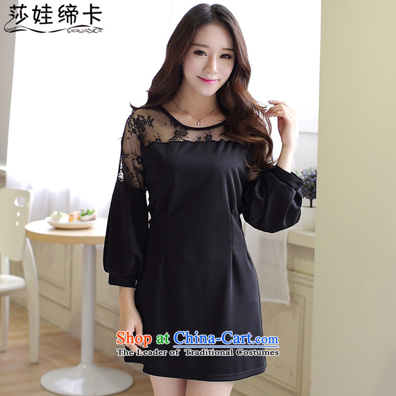 Elisabeth wa concluded card xl dresses of autumn and winter plus mm2015 new expertise obese people female graphics load autumn, thin thick Korean version 200 catties sister thick black XXXXL Tien 180 to 200 catties can penetrate