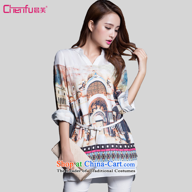 Morning to fall 2015 new larger female loose chiffon shirts in MM thick long graphics thin V-Neck long-sleeved shirt white chiffon castle animation 3XL( recommendations 150-165¨catties)