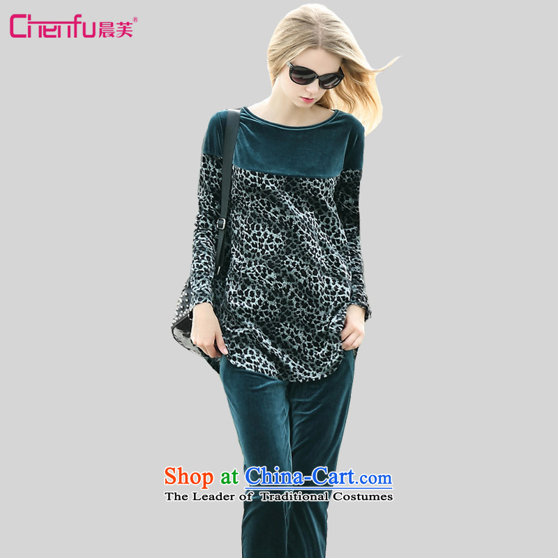 Morning to 2015 autumn and winter new larger female Korean lint-free sports suits thick MM loose video thin leopard stitching two kits blue�L爎ecommendations 130-140 catty