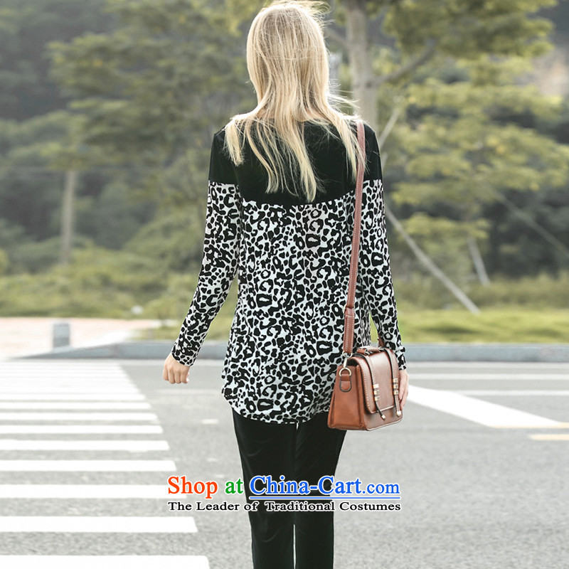 Morning to 2015 autumn and winter new larger female Korean lint-free sports suits thick MM loose video thin leopard stitching two kits blue2XLrecommendations 130-140, morning to , , , shopping on the Internet