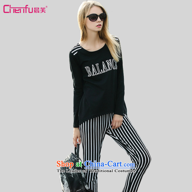 Morning to fall 2015 new western style large ladies casual Kit Letter stamp sweater streaks pants and two piece black set of recommendations 150 - 160131 catty 4XL