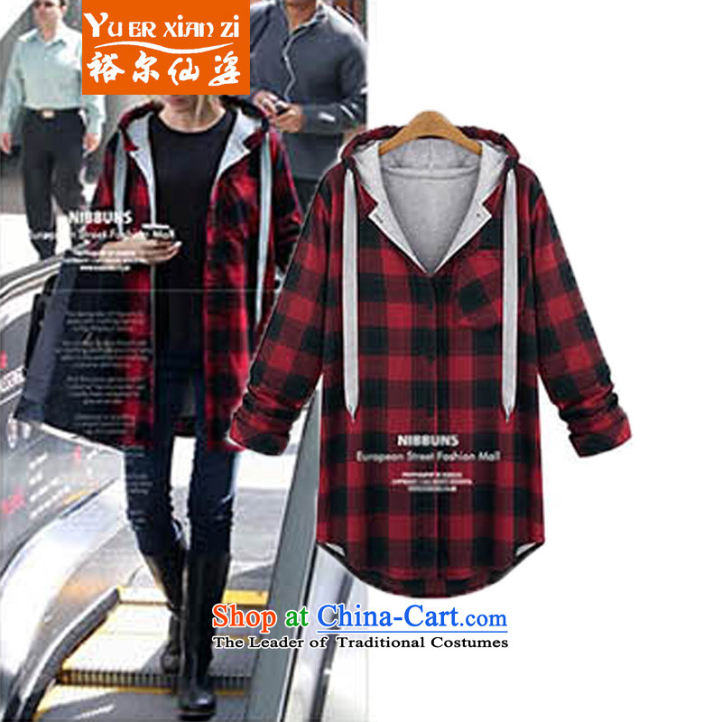 Yu's sin for Europe and to increase the number of female jackets 200 catties thick mm thick long-sleeved sister load autumn cardigan students sweater red checkered patterned shirt?4XL recommends that you 160-180 catty