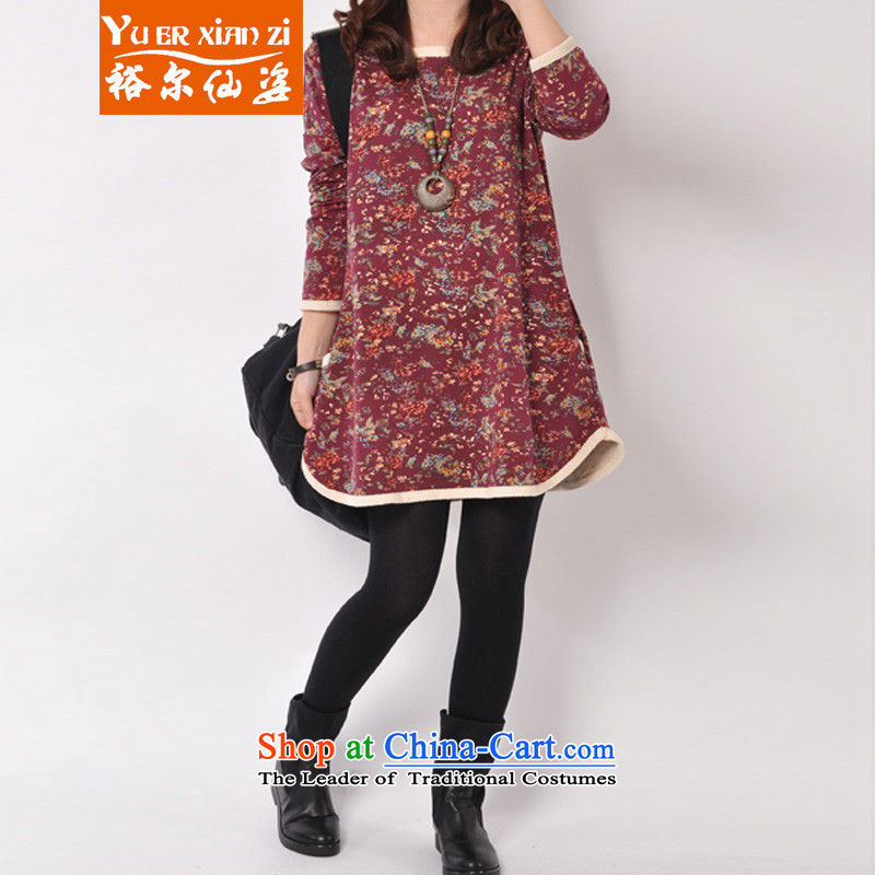 Yu's sin for larger women 2015 autumn and winter in the new fat mm long_, forming the Netherlands won t-shirt relaxd sister fat version 200 catties video thin coat chocolate3XL 145-180 recommends that you Jin