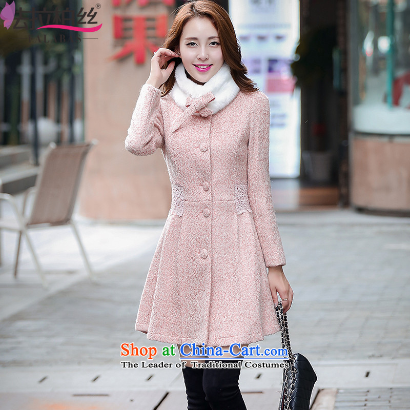 The Frente Population by 2015 Autumn and Winter Park new gross single row female coat? detained lace stitching winter coats in thick long Sau San a wool coat female G6868 pink燣