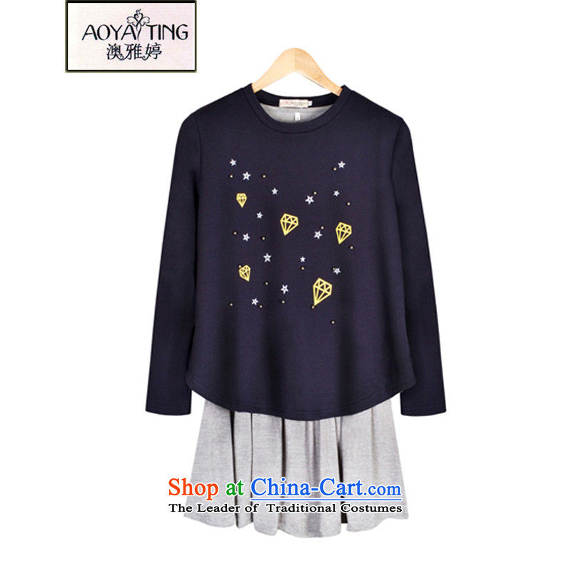 O Ya-ting to increase women's code 2015 new autumn and winter dresses thick mm video thin Sweater Vest Kit + forming the skirt children 5822 blue shirt + gray skirt�L�5-200 recommends that you Jin