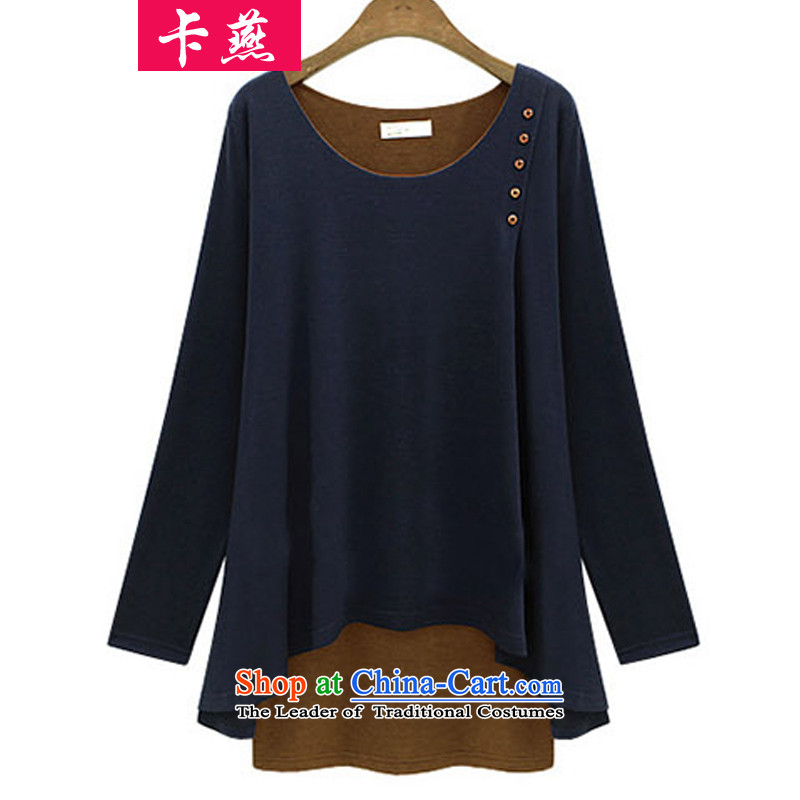 2015 Korean card Yin autumn and winter NEW SHIRT King 200 catties loose long-sleeved T-shirt larger female false two video thin, forming the Netherlands 538 dark blue 5XL