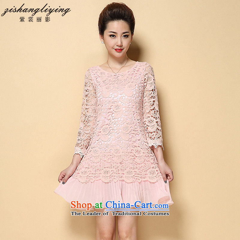 Mikhin 2015 Autumn and the new Korean citizenry Sau San retro lace engraving large long-sleeved dresses female? F6399??XXXXL Pink