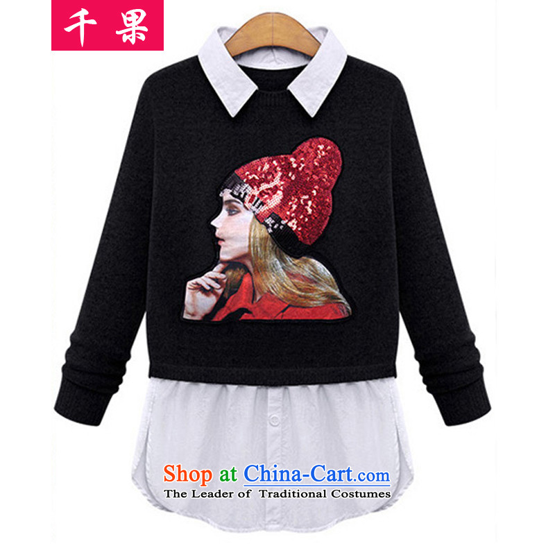 The results of the�15 autumn new extra T-shirts thick MM THIN in the video long Knitted Shirt leave two kits very casual wear shirts 318 Black�L