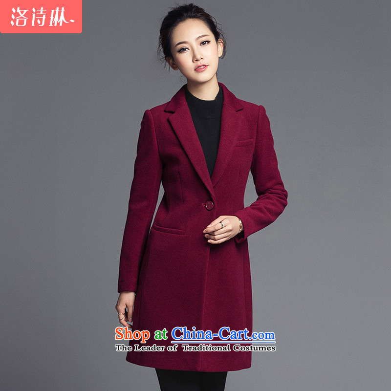 The poem Lin�15 LUXLEAD autumn and winter new single row is long graphics thin wool a wool coat jacket female wine red燣