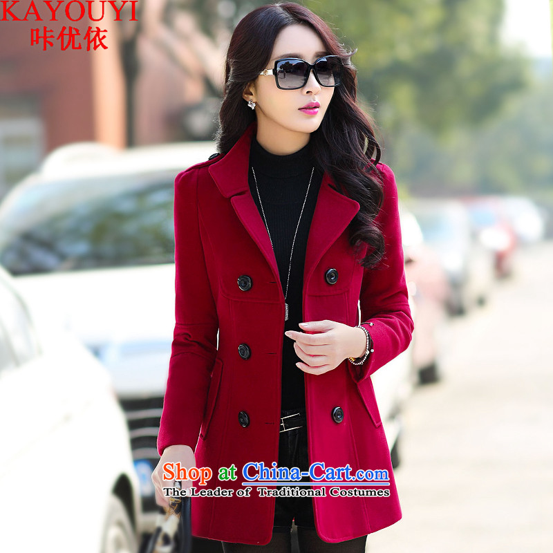 In accordance with the�15 autumn optimizing a new double-coats female jacket gross? 308 wine red燤