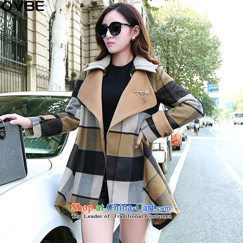 The Korean version of the 2015 autumn OVBE winter clothing new temperament cloak large segments of the Sau San Lapel Sau San? coats jacket women gross latticed M