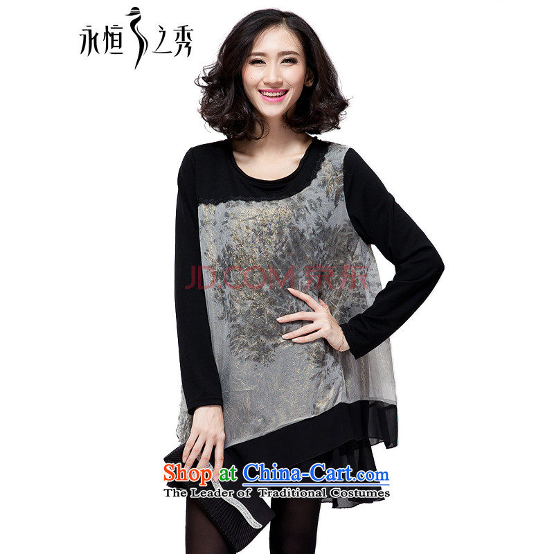The Eternal-soo to xl women's dresses autumn 2015 new products thick mm sister Korean people video thin, thick black long-sleeved poverty loose chiffon dresses black 4XL