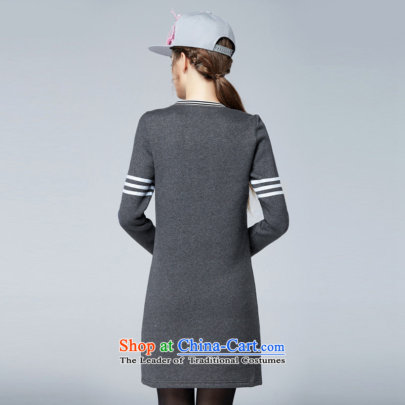 Rui Mei to to increase women's code 2015 Fall/Winter Collections new thick mm video plus lint-free long-sleeved thickened thin solid knitting dress N1656 3XL, Rui Mei to gray (RIUMILVE) , , , shopping on the Internet