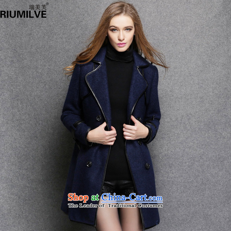 Rui Mei to to increase women's code 2015 Fall_Winter Collections new thick mm thin wool is video Sau San coats that long wind jacket R1551聽3XL Royal Blue