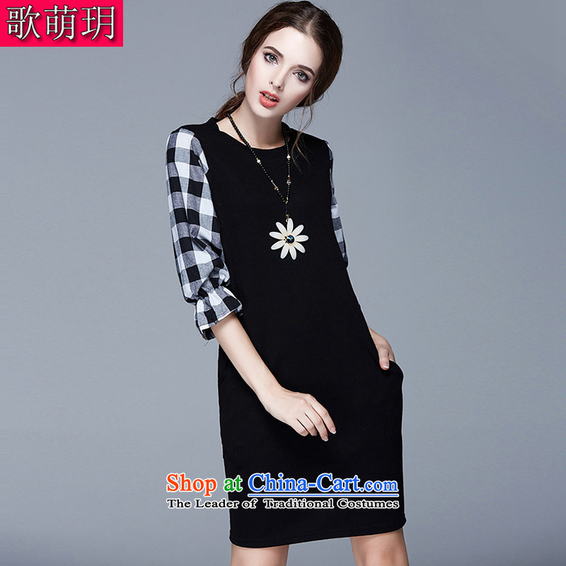 Song Of Yue xl autumn new Western liberal wool textile color patterned after the collision spell dresses SN1519 black 3XL_150-165 catty_