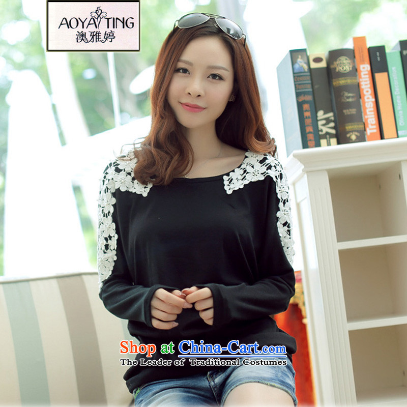 O Ya-ting tai code women 2015 new Korean women shoulder hook Flower nail-ju, forming the Netherlands thick mm thin bat shirt graphics long-sleeved T-shirt female black燲L爎ecommends that you 140-160 characters catty